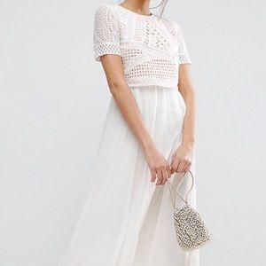 ASOS Heavy Applique Crop Top Midi Dress